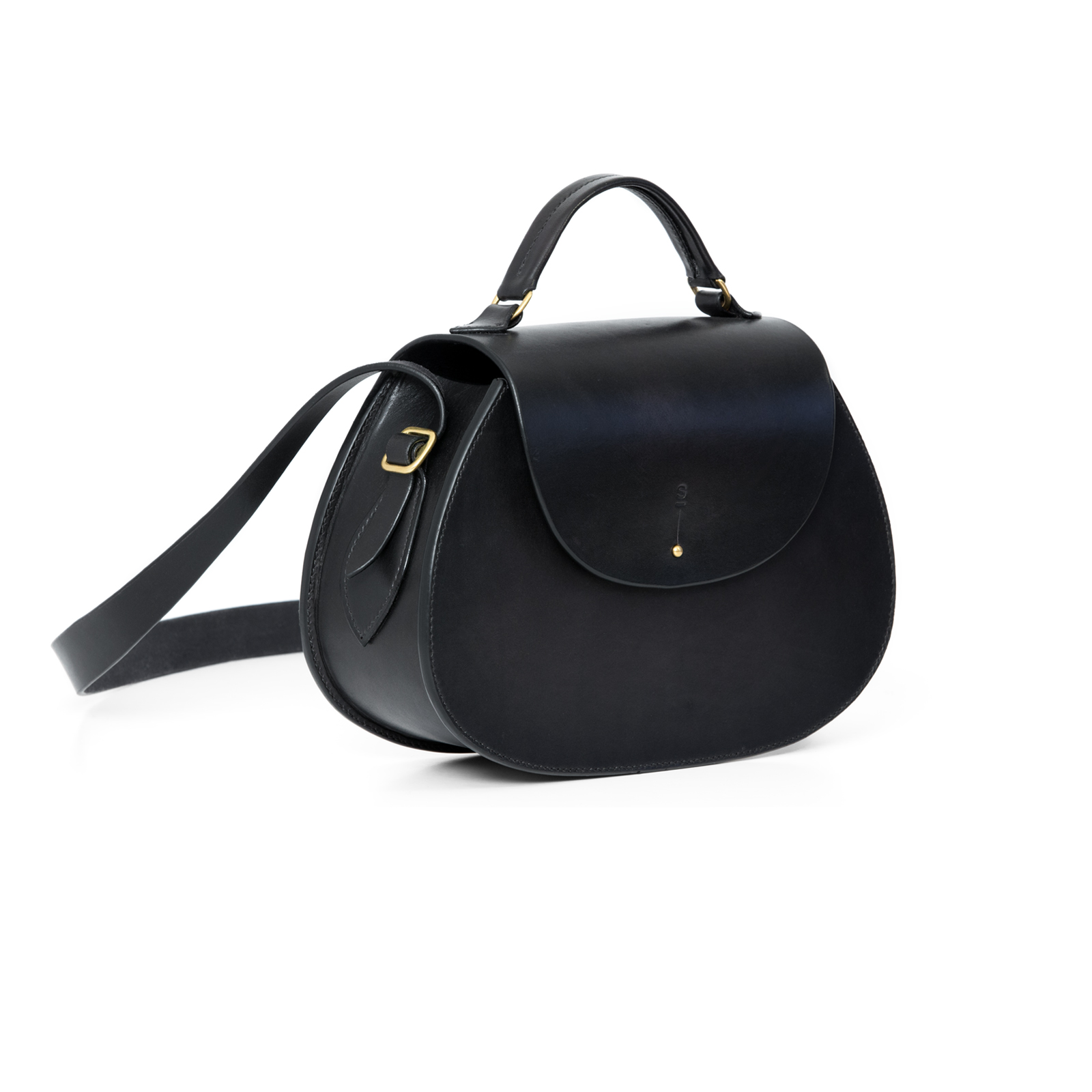 Large Black Abigail cross body bag luxury handcrafted english bridle leather goods