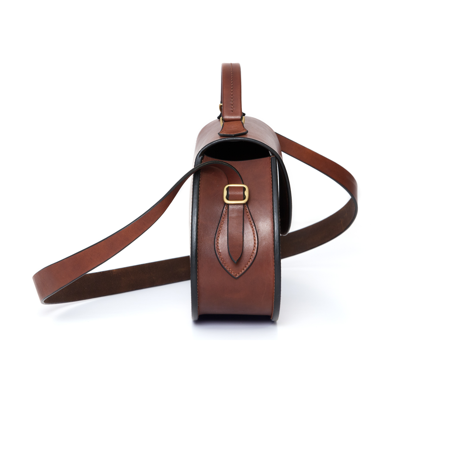 Large Dark Brown Abigail cross body bag luxury handcrafted english bridle leather goods