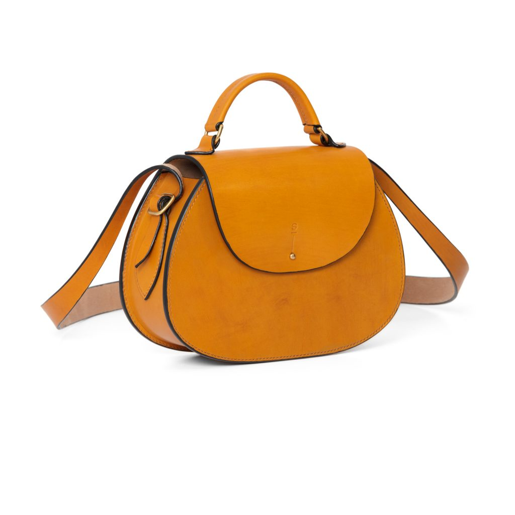 Large Tan Abigail cross body bag luxury handcrafted english bridle leather goods