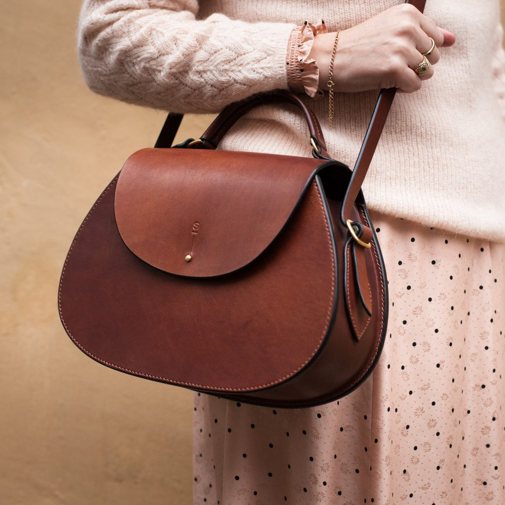 Large Dark Stain Abigail cross body bag luxury handcrafted English bridle fine leather goods