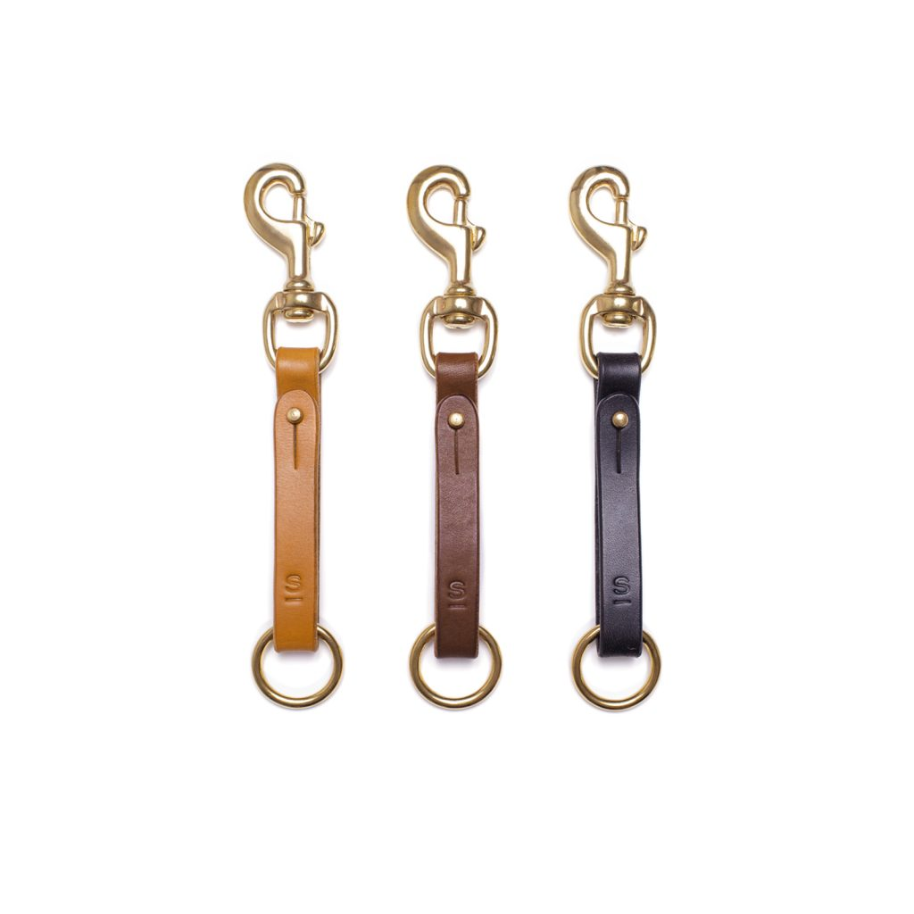 Hand crafted LONDON TAN DARK STAIN BLACK colour color english bridle leather key fob with SOLID BRASS cast trigger hook stud harness ring, luxury goods heirloom