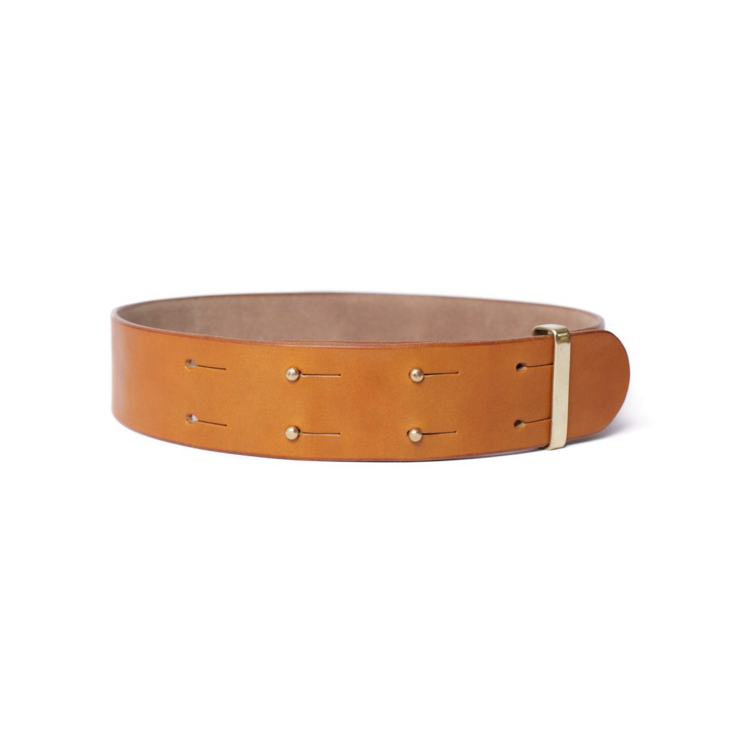 Hand crafted London Tan colour color english bridle leather belt with solid brass sam browne studs luxury goods heirloom dress
